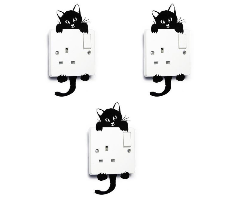 Set 3 stickere pentru intrerupator Cute Cat