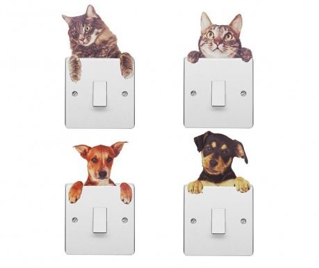 Set 4 nalepk za stikalo Dogs and Cats