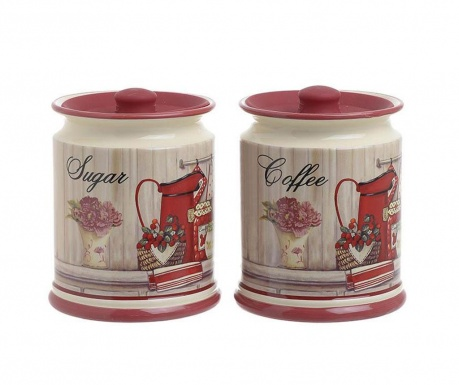 Set 2 recipiente cu capac Sugar and Coffee