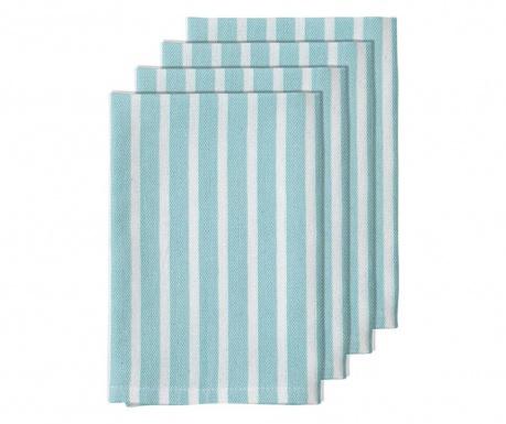 Set 4 servete de masa Bahamas Stripe Aqua 45x45 cm