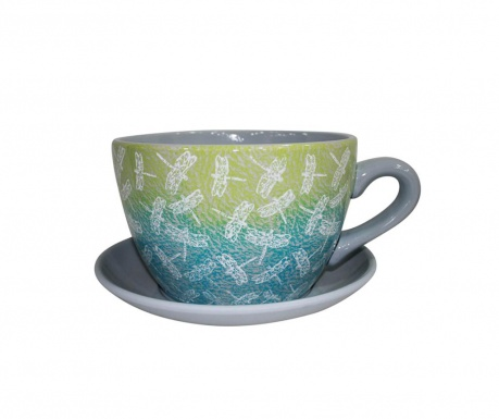 Květináč s talířkem Maxitasse Dragonfly Grey Blue