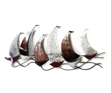 Stenska dekoracija Beaux Arts Scalloped Racing Boats