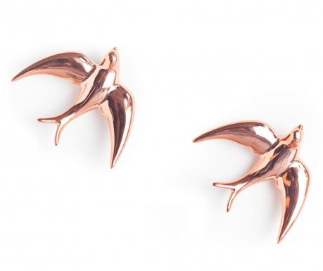 Sada 2 nástěnných dekorací Swallows Pink Pearl