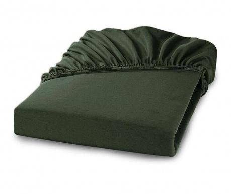 Cearsaf de pat cu elastic Percale Loryn Dark Green