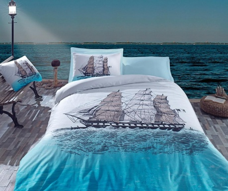 Спално бельо Single Ranforce Ship Blue