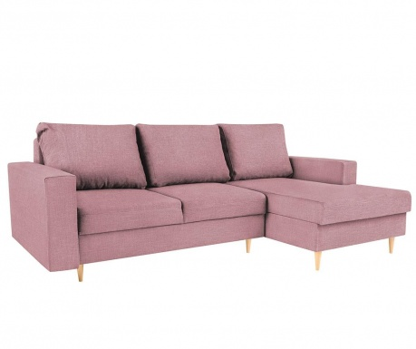 Разтегателен десен ъглов диван Iris Pink