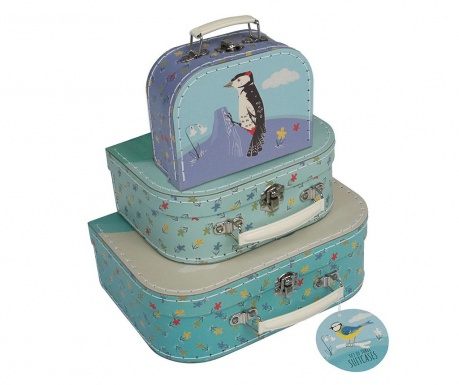 Set 3 dekorativnih kovčkov Garden Birds