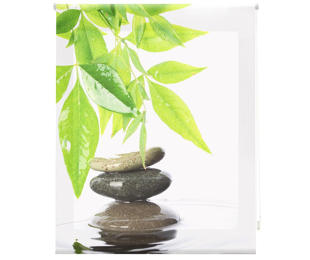 Jaluzea tip rulou Stones and Bamboo Leaf 140x180 cm - Blindecor, Alb