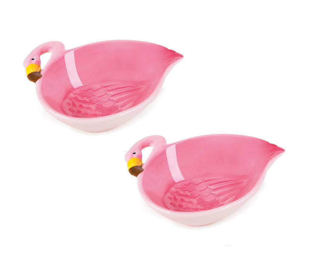 Set 2 boluri Tropical Flamingo 180 ml - Excelsa, Roz