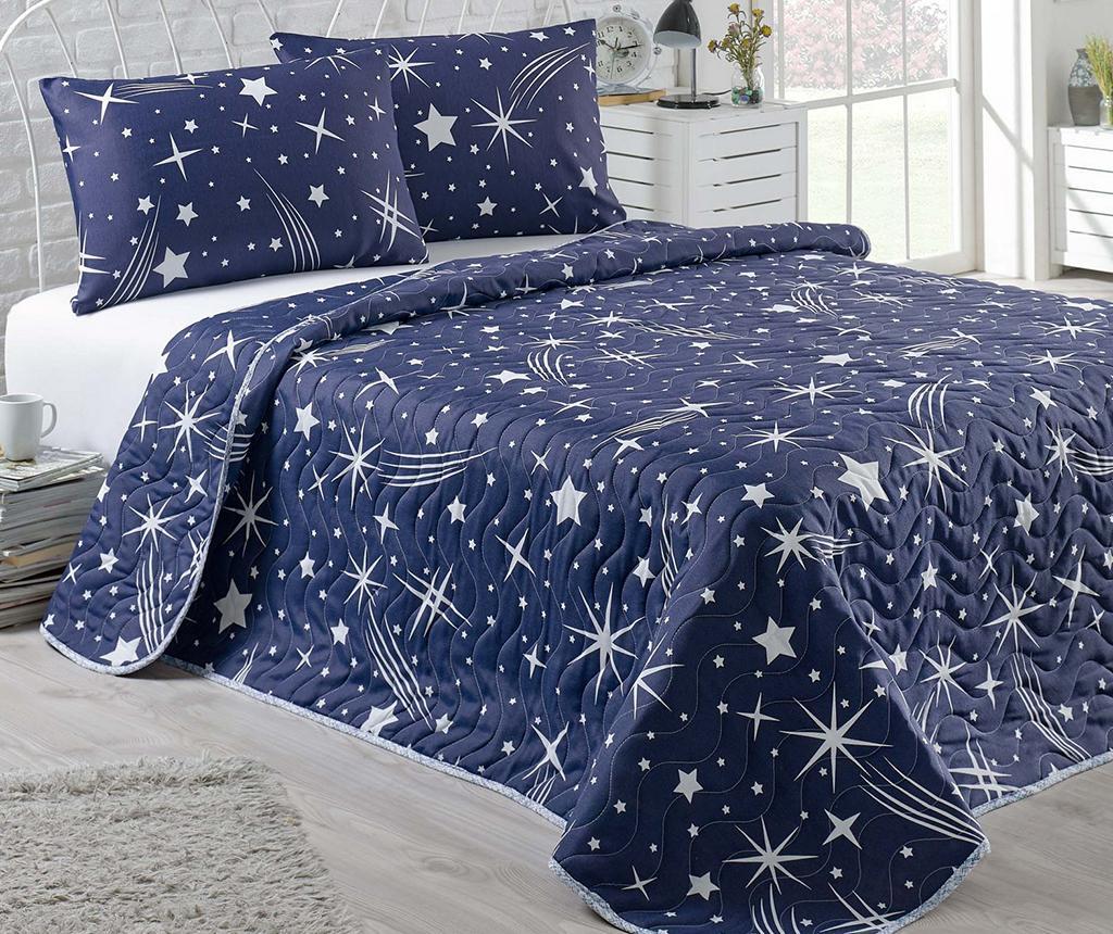 Set cuvertura matlasata Double Hallery Dark Blue - EnLora Home, Albastru