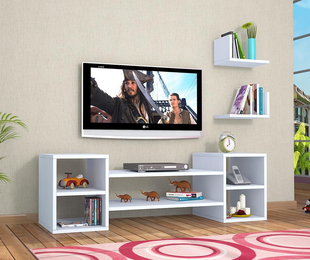 Set comoda TV si 2 polite Jon White - Oyo Concept, Alb