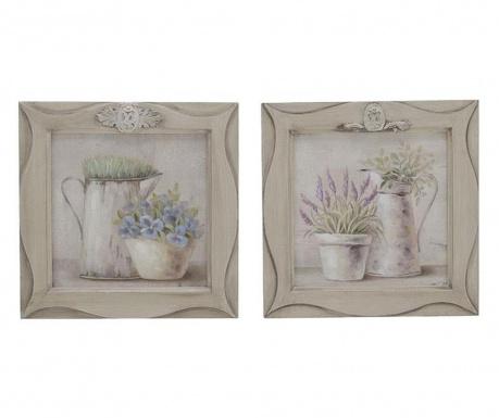 Zestaw 2 obrazów Flowers 28x28 cm