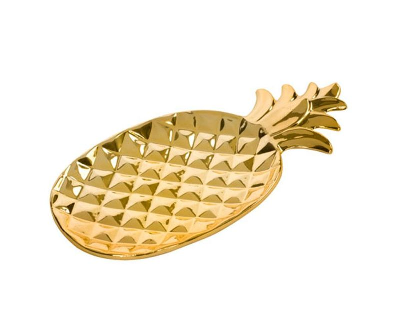 Dekorativni servirni krožnik Pineapple Gold M
