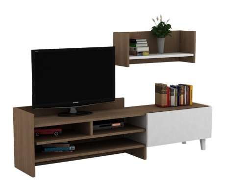 Set TV komoda i polica Pyrus Brown White
