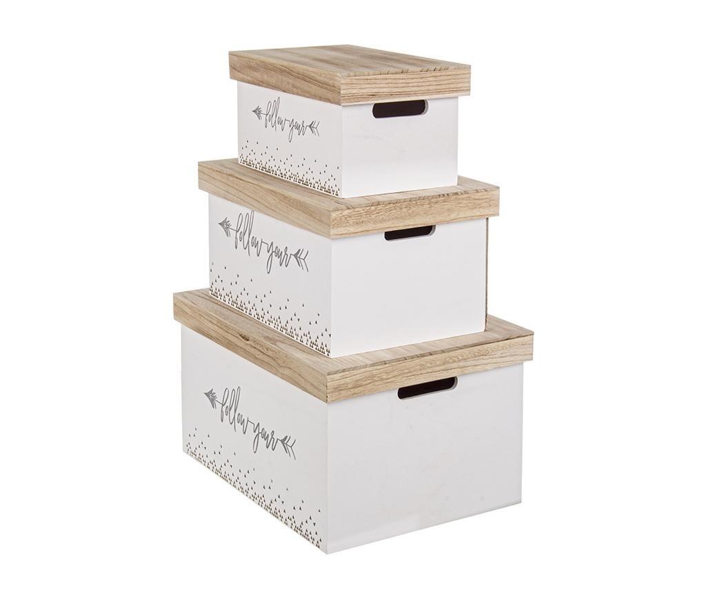 Set 3 cutii cu capac pentru depozitare Ally White Natural