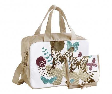Set geanta si saltea pliabila pentru schimbat scutece Butterfly Beige