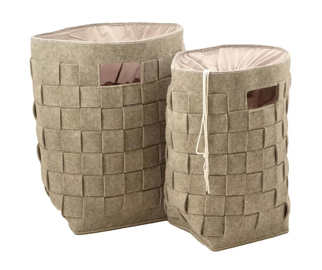 Set 2 cosuri pentru rufe Cafna - Disraeli, Gri & Argintiu