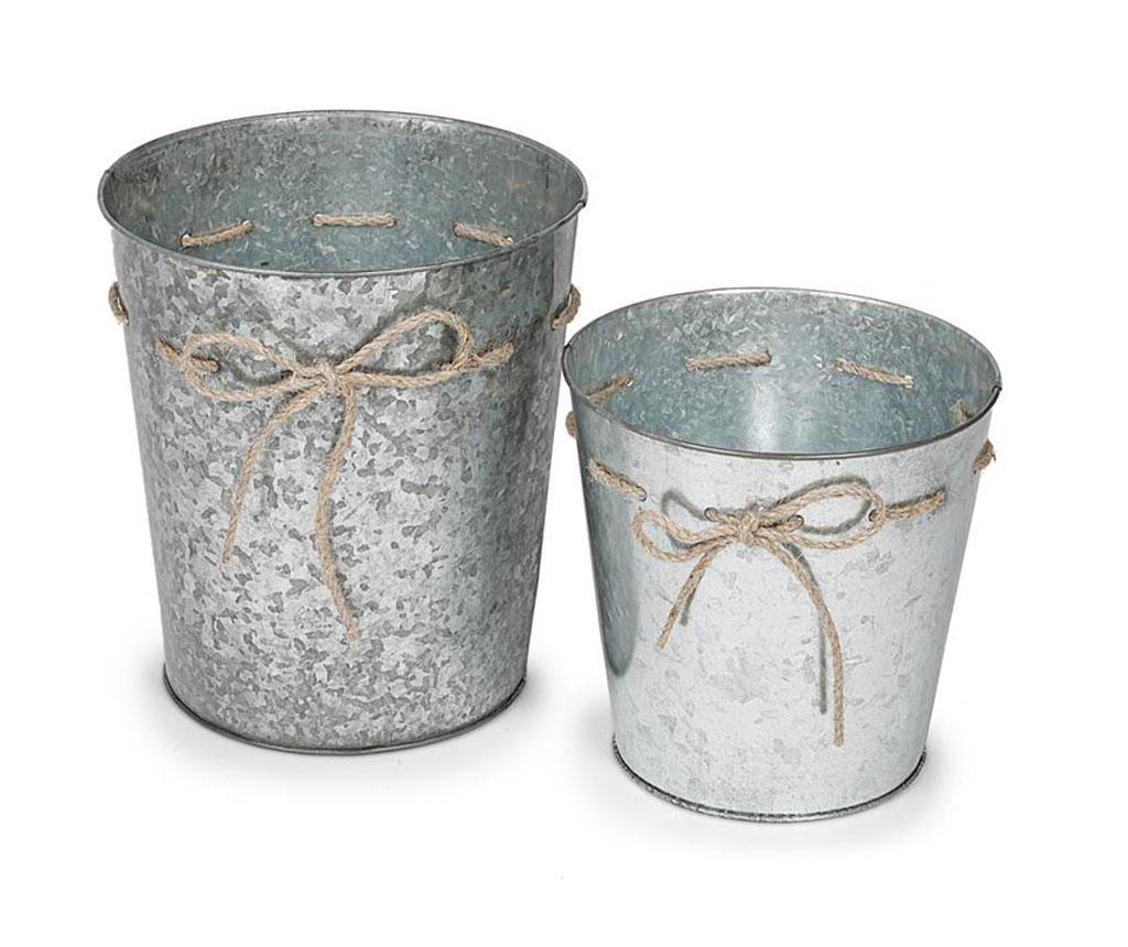 Set 2 ghivece Cador Bow - Disraeli, Gri & Argintiu
