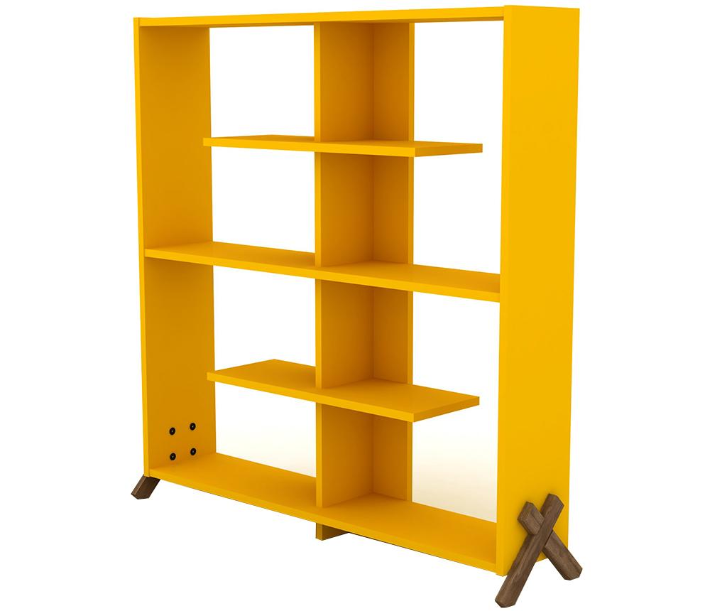 Biblioteca Kipp Walnut Yellow - Rafevi, Galben & Auriu