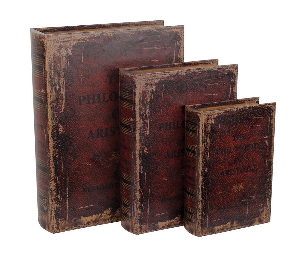 Set 3 cutii tip carte Arismu - inart, Maro