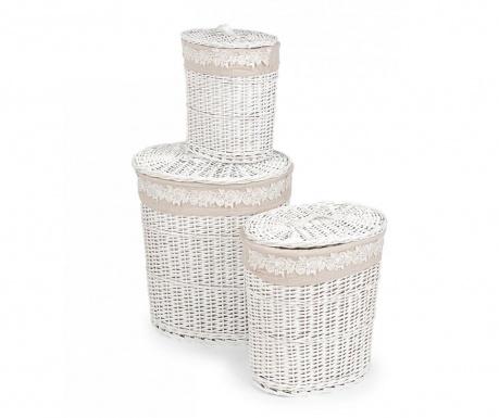 Set 3 košare za rublje s poklopcem Fiore