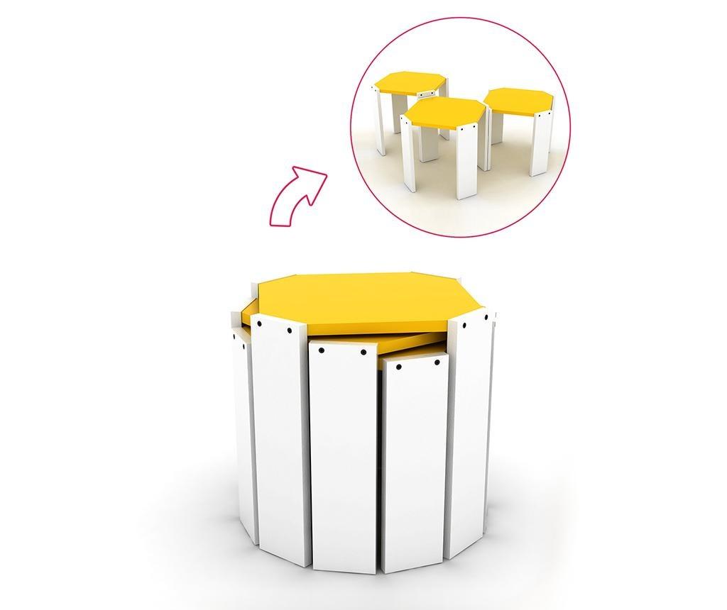 Rafevi Hansel White Yellow 3 db Asztalka