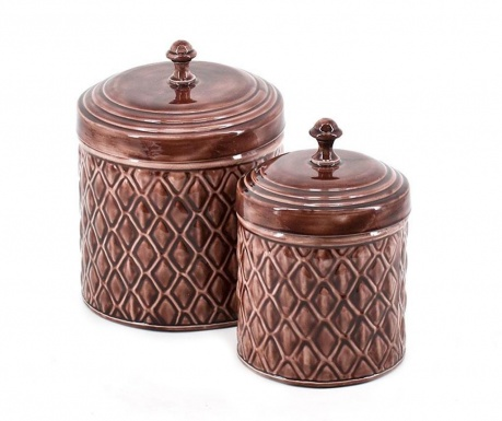 Set 2 vase decorative cu capac Silkar