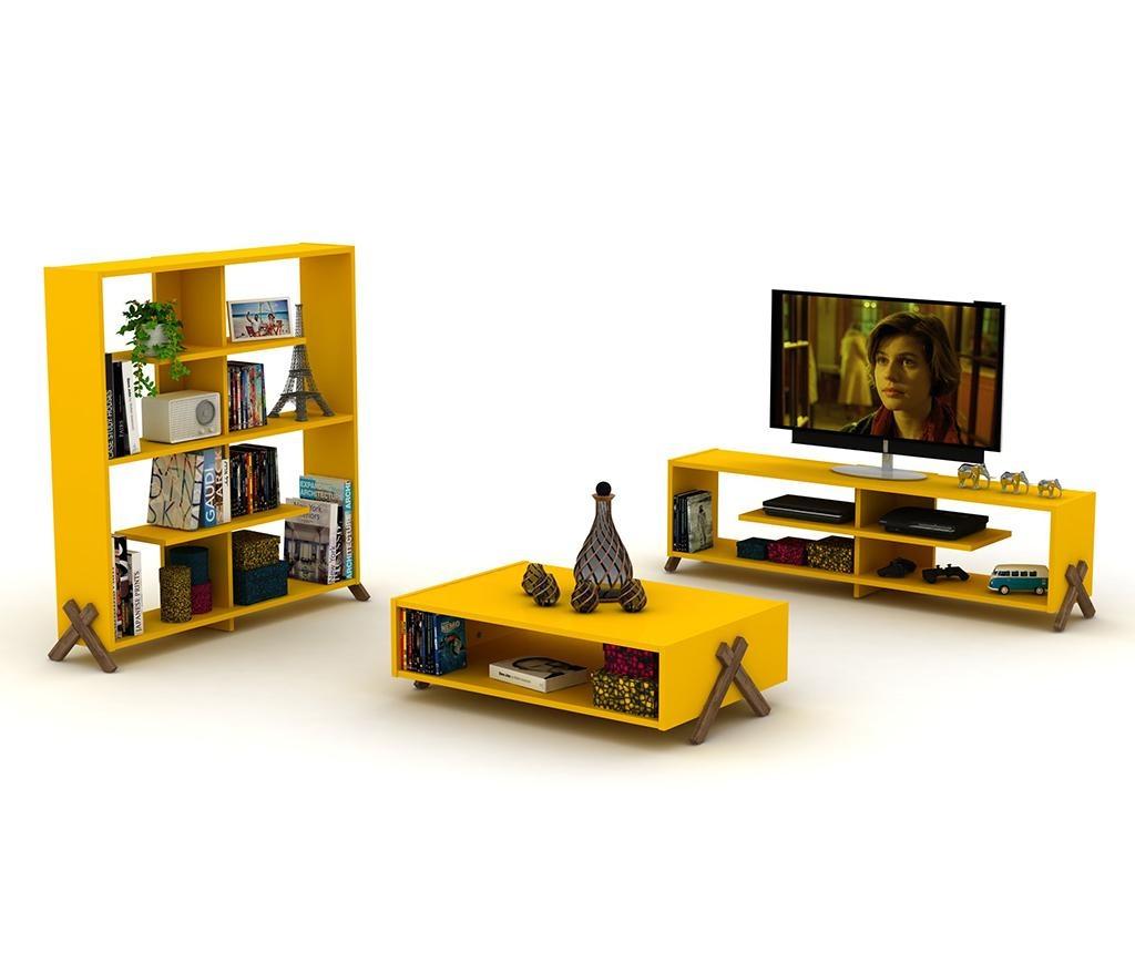 Biblioteczka Kipp Walnut Yellow