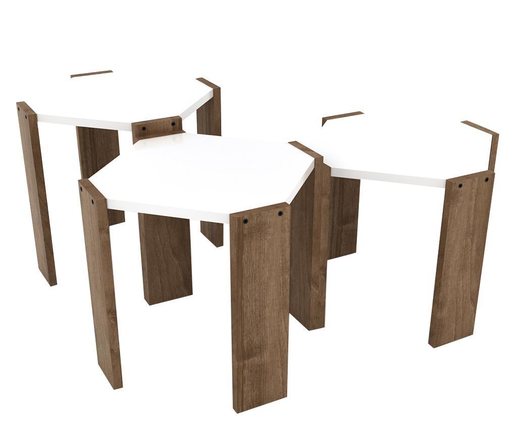 Rafevi Hansel Walnut White 3 db Asztalka