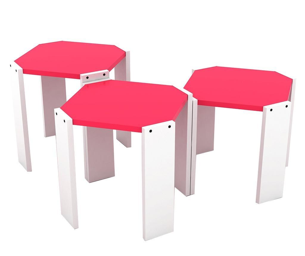 Rafevi Hansel White Pink 3 db Asztalka
