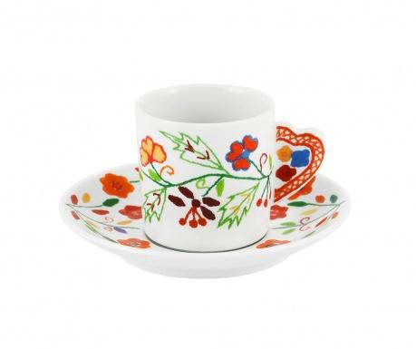Sada šálek s podšálkem na kávu Vila Colorful Delicate