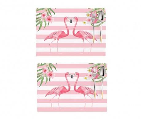 Set 2 individualuri Flamingo Love Story White and Pink 33x45 cm