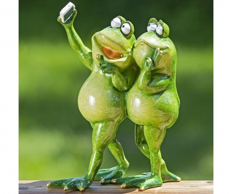 Vrtni ukras Two Selfie Frogs