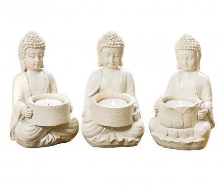 Zestaw 3 świeczników Buddha Clive