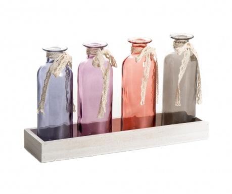 Комплект 4 декоративни бутилки и поставка Rowl