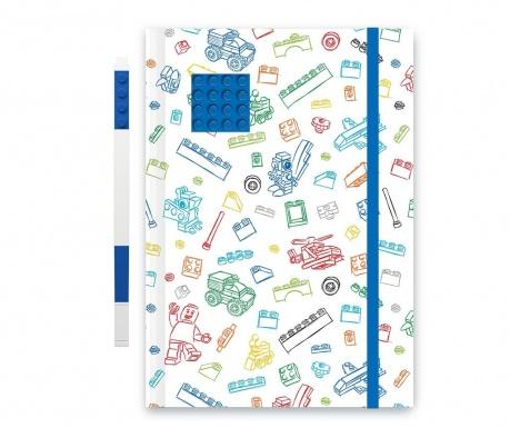 Set - beležnica in gel pisalo Lego Blue