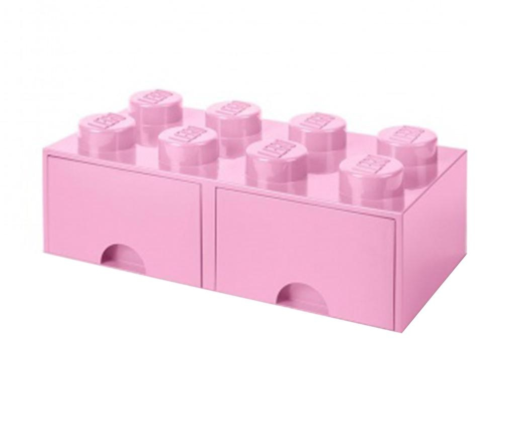 Lego Square Duo Light Pink Tárolódoboz