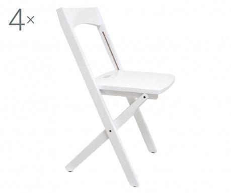 Sada 4 skládacích židlí Diana White