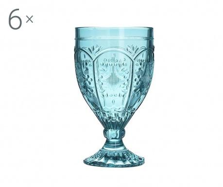 Set 6 pahare cu picior pentru apa Jacey Blue 200 ml