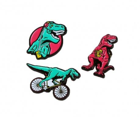 Sada 3 odznaků T-Rex