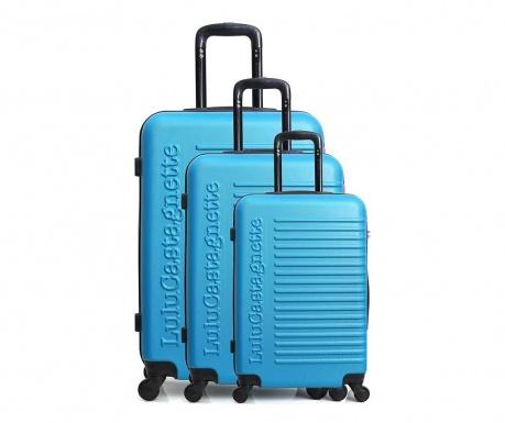 Sada 3 kolieskových kufrov Lulu Classic Blue