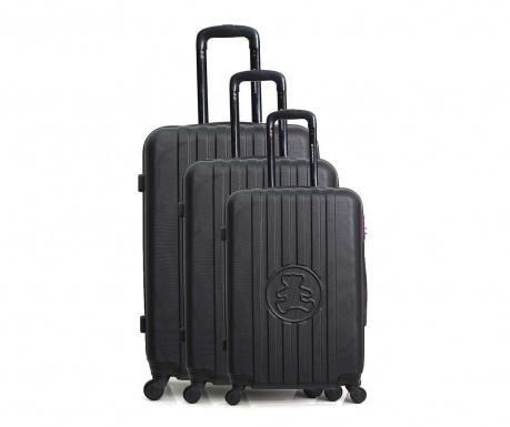 Σετ 3 βαλίτσες τρόλεϊ Lulu Bear Black
