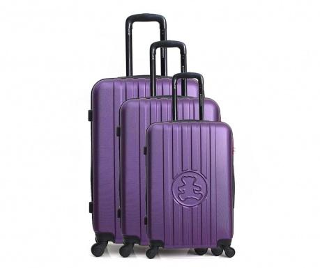 Set 3 kovčkov na kolesih Lulu Bear Purple