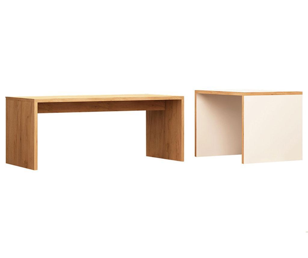 Set 2 masute modulare Nuguso - Mod Design, Alb,Maro