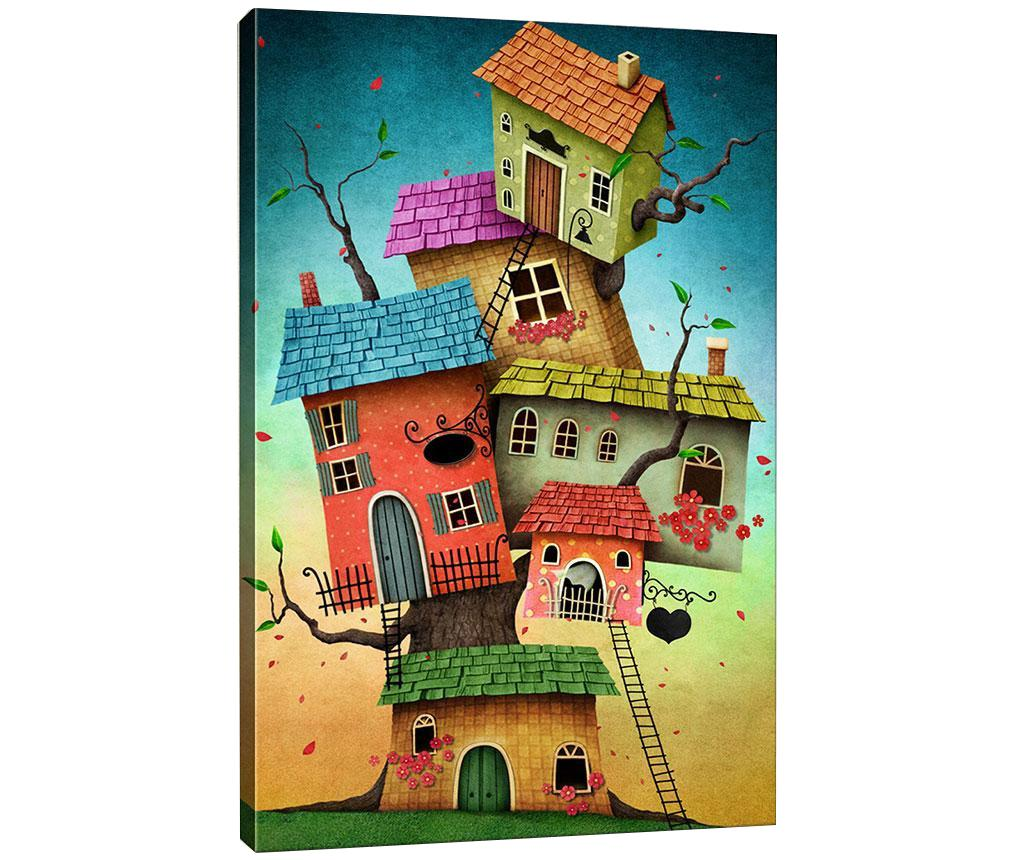 Tablou Tree Houses 40x60 cm - Tablo Center, Multicolor