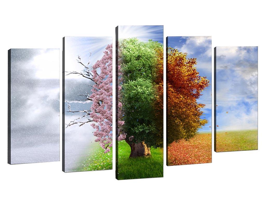 Set 5 tablouri Seasons - Tablo Center, Multicolor