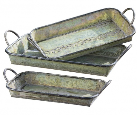 Комплект 3 подноса за сервиране Vert Olive