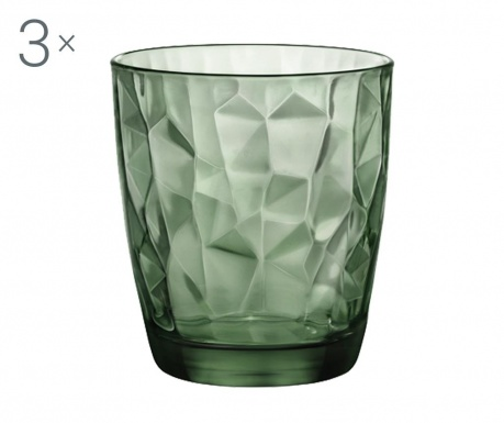 Set 3 čaše Diamond Green 300 ml