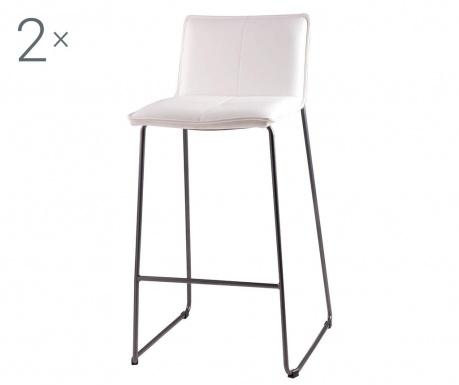 Комплект 2 бар  стола Lou White