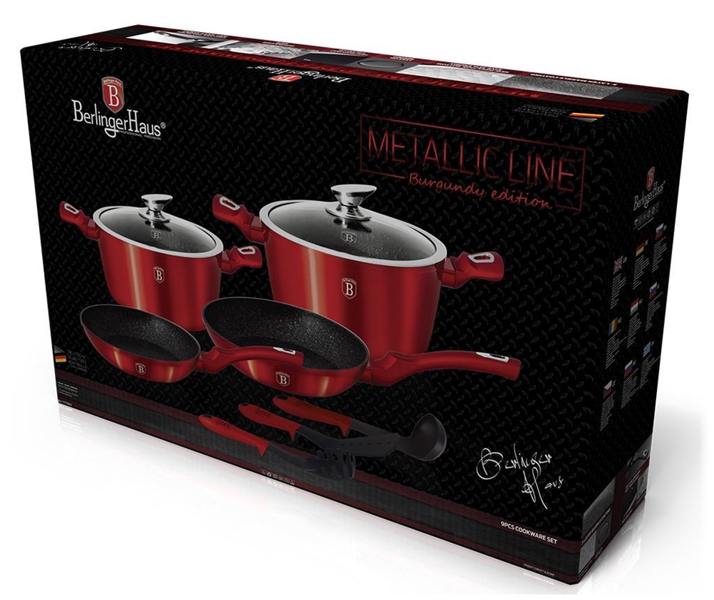 9-dijelni set posuda za kuhanje Metallic Burgundy